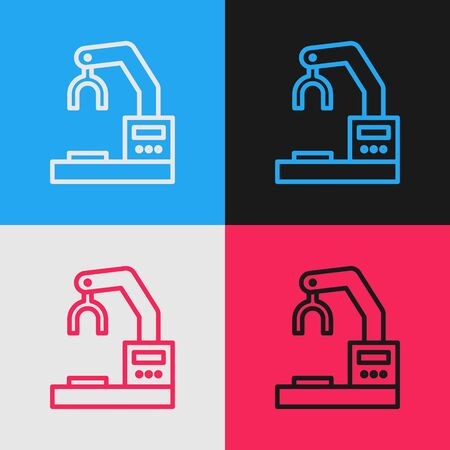 Pop art line Industrial machine robotic robot arm hand factory icon isolated on color background. Industrial robot manipulator. Vector Illustration Illustration