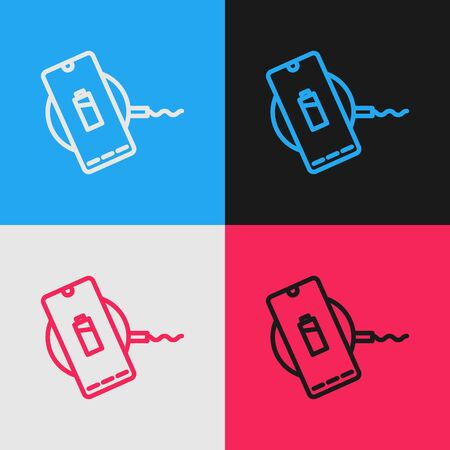 Pop art line Smartphone charging on wireless charger icon isolated on color background. Charging battery on charging pad. Vector Illustration 版權商用圖片 - 143292838