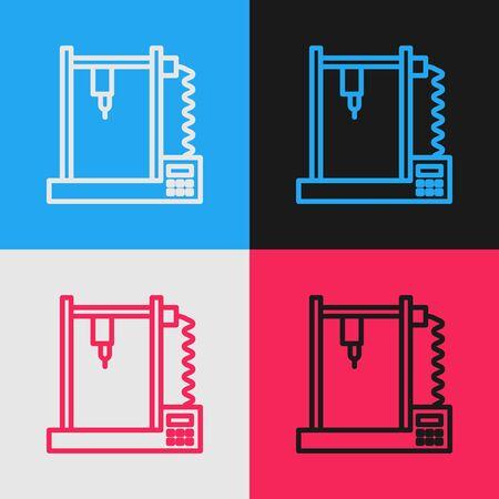 Pop art line 3D printer icon isolated on color background. Vector Illustration Standard-Bild - 143292839