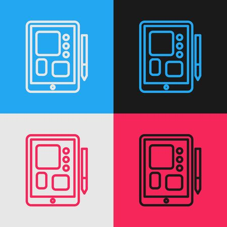 Pop art line Graphic tablet icon isolated on color background. Vector Illustration 版權商用圖片 - 143292843