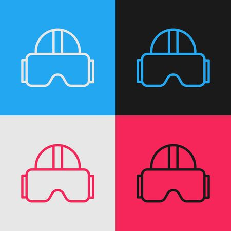 Pop art line Virtual reality glasses icon isolated on color background. Stereoscopic 3d vr mask. Vector Illustration  イラスト・ベクター素材
