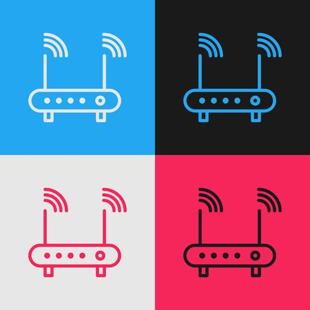 Pop art line Router and wifi signal symbol icon isolated on color background.