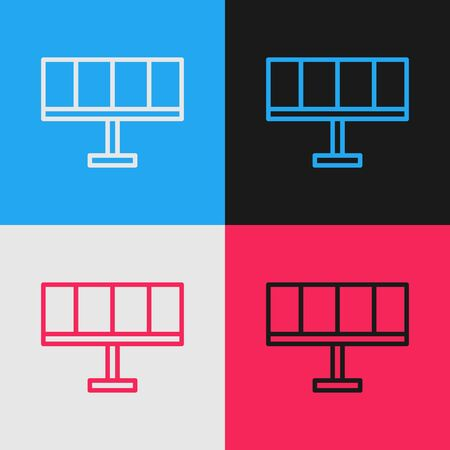 Pop art line Solar energy panel icon isolated on color background. Vector Illustration