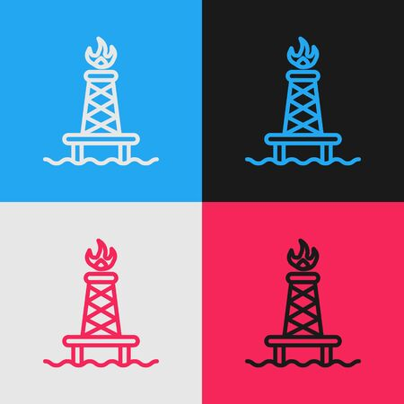 Pop art line Oil rig with fire icon isolated on color background. Gas tower. Industrial object. Vector Illustration