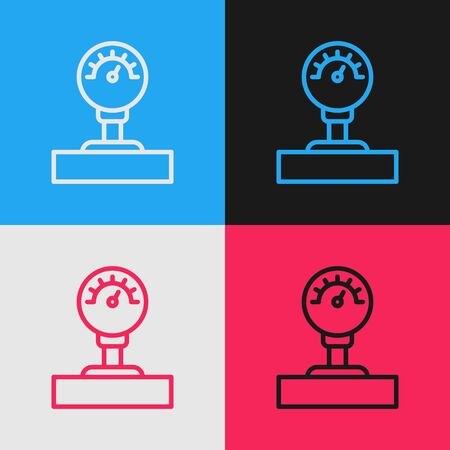 Pop art line Gauge scale icon isolated on color background. Satisfaction, temperature, manometer, risk, rating, performance, speed tachometer. Vector Illustration