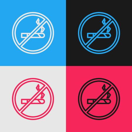 Pop art line No Smoking icon isolated on color background. Cigarette symbol. Vector Illustration