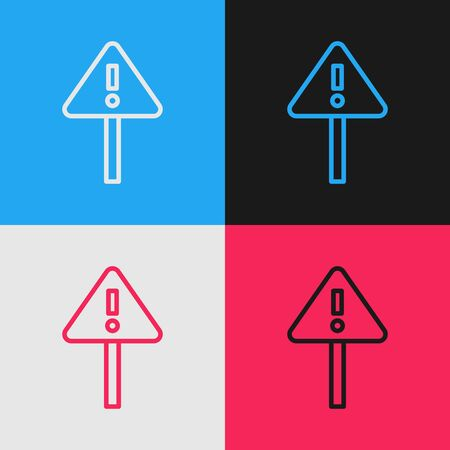 Pop art line Exclamation mark in triangle icon isolated on color background. Hazard warning sign, careful, attention, danger warning sign. Vector Illustration Illusztráció