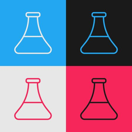 Pop art line Oil petrol test tube icon isolated on color background. Vector Illustration Ilustrace