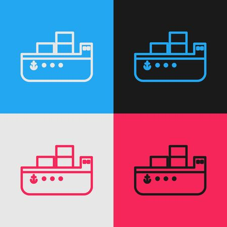 Pop art line Oil tanker ship icon isolated on color background. Vector Illustration