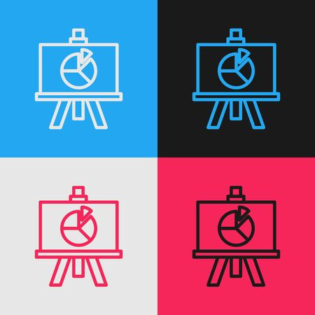 Pop art line XYZ Coordinate system icon isolated on color background. XYZ axis for graph statistics display. Vector Illustration Illustration