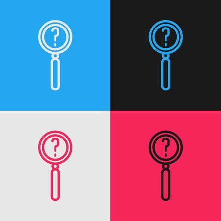 Pop art line Magnifying glass with search icon isolated on color background. Detective is investigating. Vector Illustration Illustration