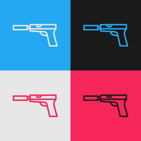 Pop art line Pistol or gun with silencer icon isolated on color background. Vector Illustration
