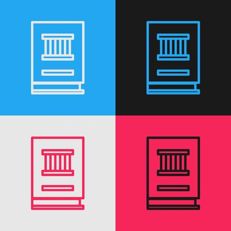 Pop art line Law book icon isolated on color background. Legal judge book. Judgment concept. Vector Illustration
