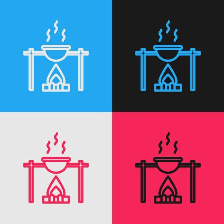 Pop art line Campfire and pot icon isolated on color background. Fire camping cooking in cauldron on firewood and flame. Vector Illustration