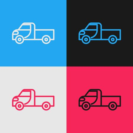 Pop art line Pickup truck icon isolated on color background. Vector Illustration