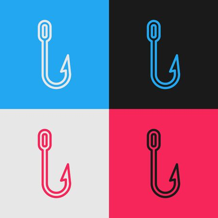 Pop art line Fishing hook icon isolated on color background. Fishing tackle. Vector Illustration