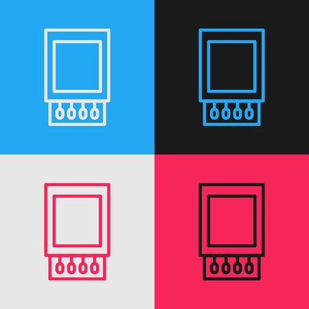 Pop art line Open matchbox and matches icon isolated on color background. Vector Illustration