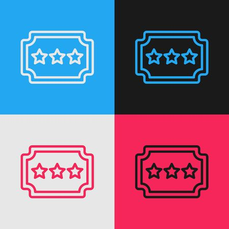 Pop art line Ticket icon isolated on color background. Amusement park. Vector Illustration