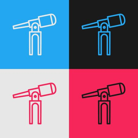 Pop art line Telescope icon isolated on color background. Scientific tool. Education and astronomy element, spyglass and study stars. Vector Illustration
