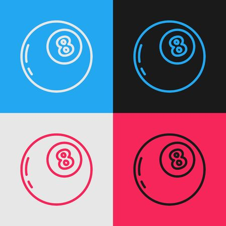 Pop art line Magic ball of predictions for decision-making icon isolated on color background. Crystal ball. Vector Illustration