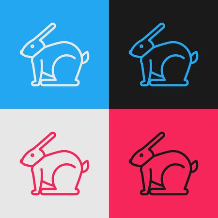 Pop art line Easter rabbit icon isolated on color background. Easter Bunny. Vector Illustration Vector Illustratie