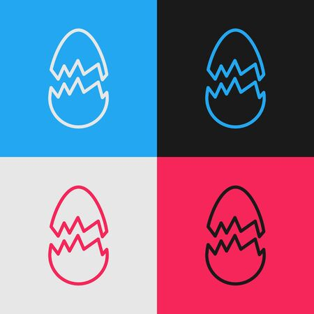 Pop art line Broken egg icon isolated on color background. Happy Easter. Vector Illustration