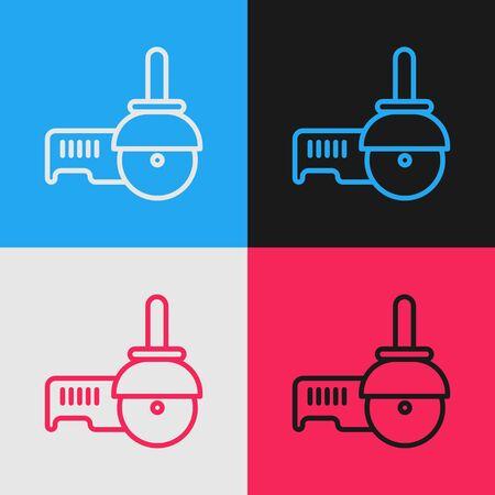 Pop art line Angle grinder icon isolated on color background. Vector Illustration Ilustração