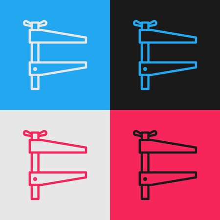 Pop art line Clamp tool icon isolated on color background. Locksmith tool. Vector Illustration