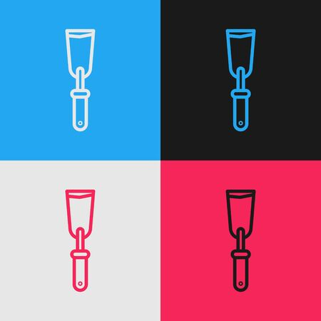 Pop art line Putty knife icon isolated on color background. Spatula repair tool. Spackling or paint instruments. Vector Illustration