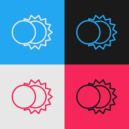 Pop art line Eclipse of the sun icon isolated on color background. Total sonar eclipse. Vector Illustration