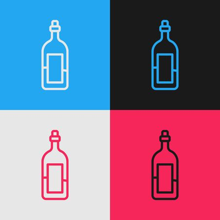 Pop art line Bottle of wine icon isolated on color background. Vector Illustration