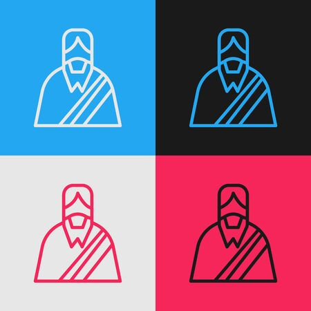 Pop art line Jesus Christ icon isolated on color background. Vector Illustration