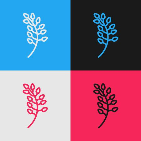 Pop art line Willow leaf icon isolated on color background. Vector Illustration