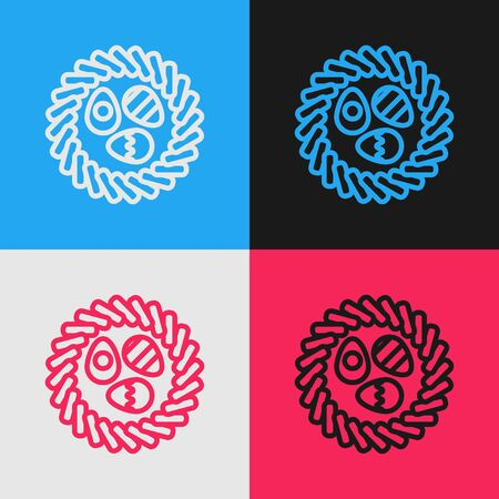 Pop art line Easter egg in a wicker nest icon isolated on color background. Happy Easter. Vector Illustration Illustration