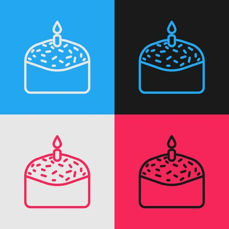 Pop art line Easter cake and candle icon isolated on color background. Happy Easter. Vector Illustration 向量圖像