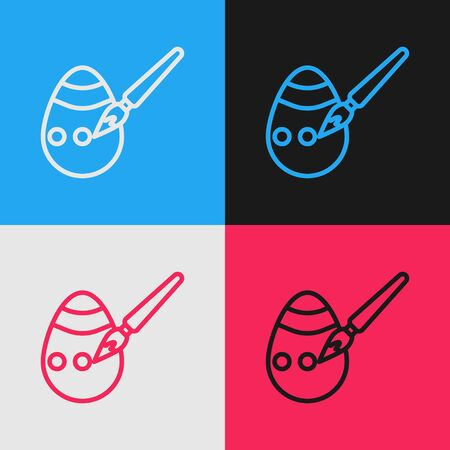 Pop art line Easter egg and paint brush icon isolated on color background. Happy Easter. Vector Illustration