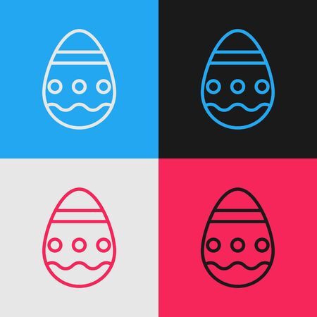 Pop art line Easter egg icon isolated on color background. Happy Easter. Vector Illustration Illustration