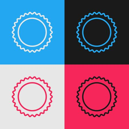 Pop art line Sun icon isolated on color background. Summer symbol. Good sunny day. Vector Illustration  イラスト・ベクター素材