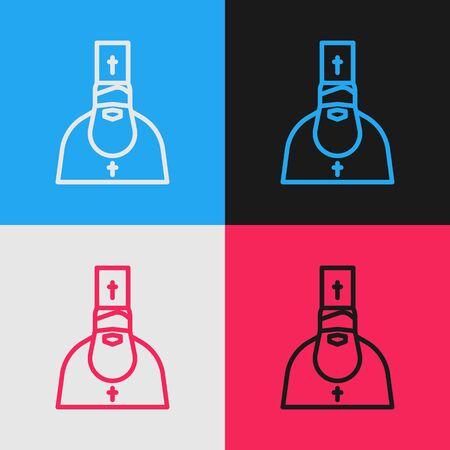 Pop art line Priest icon isolated on color background. Vector Illustration Ilustração