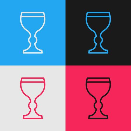 Pop art line Wine glass icon isolated on color background. Wineglass icon. Goblet symbol. Glassware sign. Happy Easter. Vector Illustration 向量圖像