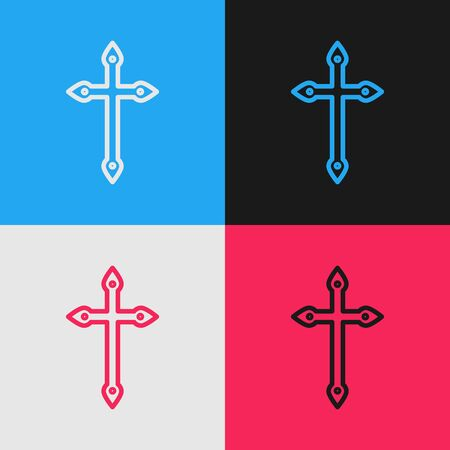 Pop art line Christian cross icon isolated on color background. Church cross. Vector Illustration