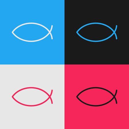 Pop art line Christian fish symbol icon isolated on color background. Jesus fish symbol. Vector Illustration