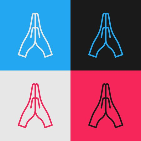 Pop art line Hands in praying position icon isolated on color background. Prayer to god with faith and hope. Vector Illustration