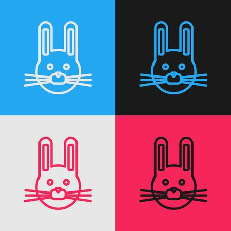Pop art line Easter rabbit icon isolated on color background. Easter Bunny. Vector Illustration Stock Illustratie