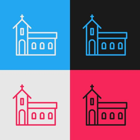 Pop art line Church building icon isolated on color background. Christian Church. Religion of church. Vector Illustration