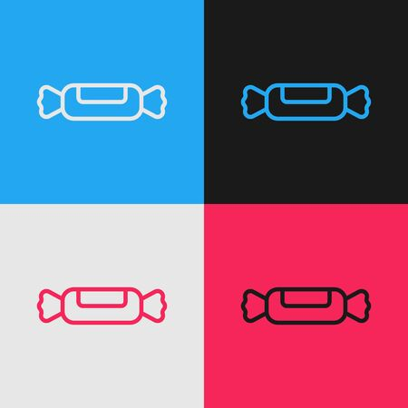 Pop art line Candy icon isolated on color background. Vector Illustration Иллюстрация