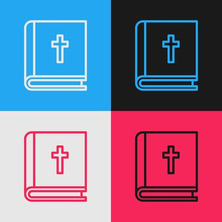 Pop art line Holy bible book icon isolated on color background. Vector Illustration