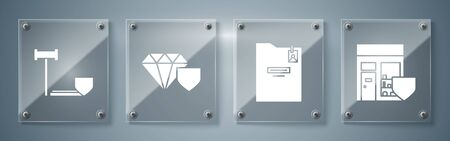 Set Shopping building with shield, Personal folder, Diamond with shield and Judge gavel with shield. Square glass panels. Vector