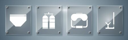 Set Snorkel, Diving mask, Aqualung and Swimming trunks. Square glass panels. Vector Vectores