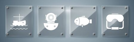 Set Diving mask, Fish, Aqualung and Fishing boat on water. Square glass panels. Vector